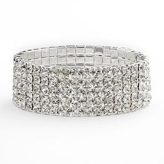 Franco Gia Simulated Crystal Multirow Stretch Bracelet  mine is not as wide