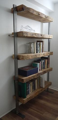 Wood and Metal Shelves. Industrial Furniture Hand Made Reclaimed Barn Wood and Metal Shelves. Wood And Metal Shelves, Reclaimed Wood Bookcase, Reclaimed Wood Furniture, Reclaimed Barn Wood, Rustic Furniture, Diy Furniture, Furniture Design, Rustic Bookshelf, Industrial Furniture