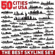 The Best vector city skyline silhouettes set — Stock Vector ...