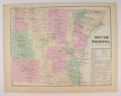 1874 South Bristol NY Map, Antique Map South Bristol New York, Bristol Mountain, Finger lakes Wine Art, Canandaigua Lake, Unique Guy Gift available from OldMapsandPrints.Etsy.com #SouthBristolNewYork #AntiqueHandcolored1874MapofSouthBristolNY #FLXSouthBristol #OriginalAntiqueHandcoloredMap