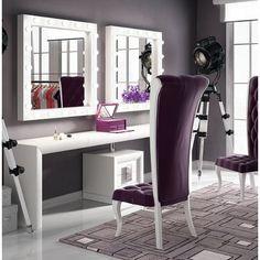 Everly Quinn Kirkwood Bedroom Makeup Vanity Set with Mirror Color: Black Glossy - All About Decoration Wood Makeup Vanity, Bedroom Makeup Vanity, Vanity Room, Vanity Desk, Wood Vanity, Bedroom Vanities, Royal Furniture, Online Furniture, Furniture Sets