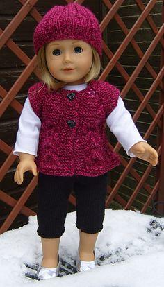 Ravelry:  American Girl Doll Top Down Sleeveless Cardi & Skinny Leggings Set by Jaqueline Gibb