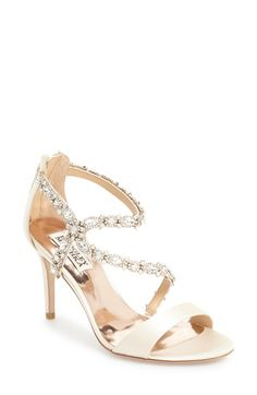 Free shipping and returns on Badgley Mischka 'Caress' Evening Sandal (Women) at Nordstrom.com. Sparkling crystals line the straps of a chic satin sandal lifted by a svelte wrapped heel.