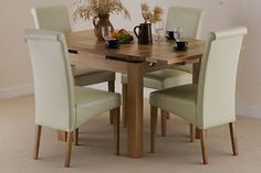 Dorset 3ft x 3ft Solid Oak Extending Dining Set + 4 Cream Leather Chairs
