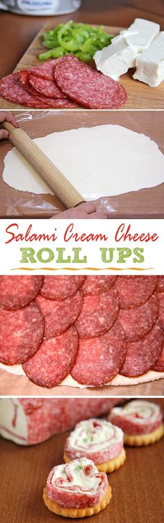 a most delicious and inspiring Christmas or New Year's Eve finger food appetizer idea These Salami & Cream cheese roll ups makes a most delicious and inspiring Christmas or NewYear's Eve fingerfood appetizer idea. Finger Food Appetizers, Yummy Appetizers, Appetizers For Party, Finger Foods, Appetizer Recipes, Appetizer Ideas, Salami Recipes, Pepperoni Recipes, Jalapeno Recipes