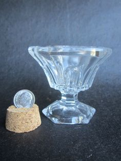 Antique Civil War Era EAPG Early New England Pressed Glass Pedestal Base Salt