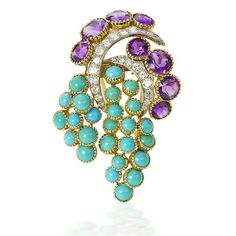 A turquoise, amethyst and diamond brooch, by Cartier,