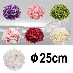 Svatební dekorace z růží, s perličkami, Ø 25 cm (1ks)