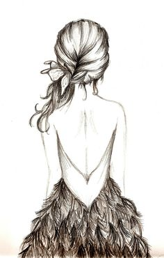 I like how some part of the pictures are darker then others, they catch your eye faster. So the first thing you see is the dress, then you see the flower in the hair. Very cool . Like how the back of the girl is almost all just the paper