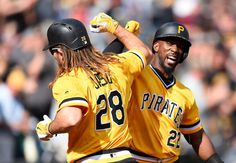 John Jaso celebrate his solo home run with Andrew McCutchen of the Pittsburgh Pirates Pittsburgh Pirates, Philadelphia Phillies, Cincinnati Reds, Los Angeles Dodgers, Mlb, Fans, Baseball, Celebrities, Celebrity