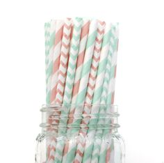 Paper Straws, Mint Green and Pink Straws, Vintage Wedding, Baby Shower, Kids Birthday Party, Pastel Green, Table Setting, Paper Goods, USA