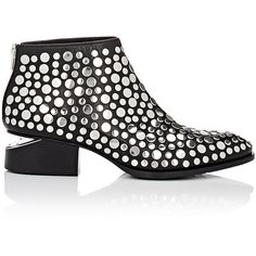 Alexander Wang Women's Embellished Kori Boots (2,700 ILS) ❤ liked on Polyvore featuring shoes, boots, ankle booties, ankle boots, colorless, studded booties, mid heel booties, studded boots and alexander wang bootie