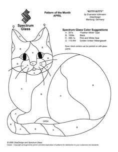 stained glass cat patterns | Stained Glass Patterns for FREE ★ glass pattern 409 Cat ★