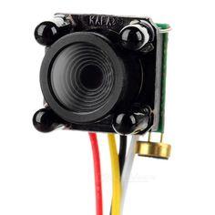 600Line HD Mini FPV NTSC Aerial Camera. Photosensitive element: PHILIPS 3299 Resolution: 1280 x 960 Pixels: 5.0MP Definition: 600Line Minimum illumination: 0LUX (IR lamp normally open) SNR: >/+ 48dB Gamma value: 0.45 Frames: 60fps (NTSC) White ballance: Auto Audio: Single channal Video output: 1Vp-p 75ohms Color: colorful, night vision monochrome TV system: NTSC Lens: 3.6mm flat 78 degrees IR: Black 4 PCS IR waveband: 940nm Nightvision distance: 3~5m Working temperature: -10~50'C Power…
