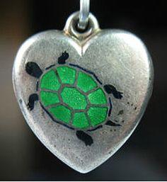 Vintage Enameled Puffy Heart Charm ~ From The Estate of Joan Munkacsi