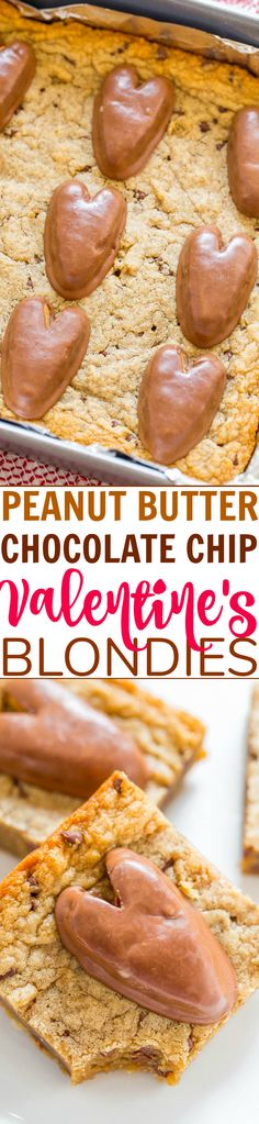 Peanut Butter Chocolate Chip Valentines Blondies Fast EASY blondies loaded with peanut butter chocolate chips and topped with peanut butter HEARTS! Bring them to a Valentines Day party or surprise someone special! Chocolate Oreo Cake, Chocolate Peanut Butter, Chocolate Chips, Best Dessert Recipes, Easy Desserts, Delicious Desserts, Holiday Recipes, Peanut Butter Desserts, Dessert Bars