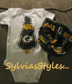 Greenbay Packers tie onsie and matching diaper cover