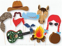Western Photo Booth Props Wild West Rodeo Cowboy por PaperBuiltShop
