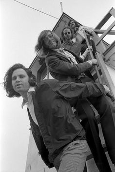 The Doors on a lifeguard stand in Venice, 1969