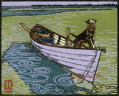 """Permission To Come Ashore?""; 5-block, 9-color; oil-based inks on Rives B.F.K.; 9 3/4"" x 7 3/4""; 2012."