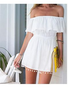 Women's Going out Casual/Daily Simple A Line Sheath Dress,Solid Boat Neck Above Knee Sleeveless Cotton Summer High Rise Micro-elastic Thin 5865900 2017 – €6.26