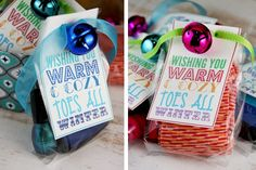 Wishing You Warm  Cozy Toes All Winter Socks  Nail Polish Gift: The cold winter air brings shivers all about, especially for your feet. Package holiday-themed socks with a bottle of coordinating nail polish and  include a tag that reads Wishing you warm and cozy toes all winter. for a small little gift or adorable stocking stuffer.