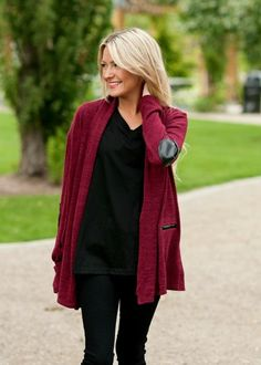 Maroon cardigan with elbow patches and faux front pockets. #bellaellaboutique