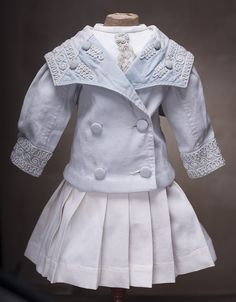 "Antique Original White Pique Sailor Costume Dress for French Bebe Jumeau Bru Steiner doll 25-26"" with french store label"