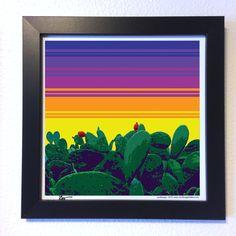 "Gallery: Pop series ""Cactus morning"" (2015) 12 x 12 inch, Digital art - Giclee print on enhanced matte paper. 14 x 14 inch, frame - Stain black and glass. Signed by Jon Savage ---------------------------------- #art #artist #popart #popartist #digitalart #contemporary #contemporaryart #cactus #morning #cmyk #brightcolors #opuntia #pricklypear #sandiego #californa #jonsavagegallery"