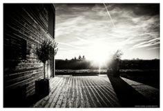 DAVID ANGELETTI PHOTOGRAPHIES   D 901 #morning #sky #black&white #tree #sun #house #wood