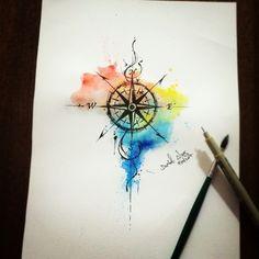 Rosa dos Ventos / Bússola / Brasil Art / Watercolor / Aquarela By @dn_alves Daniel R Alves São Paulo/BR