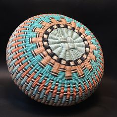 Admiration by Twisted Spokes : Hand Woven Basket от TwistedSpokes Basket Weaving Patterns, Linen Baskets, Light Teal, Teal Green, Twine, Wicker, Hand Weaving, Unique Jewelry, 6 Inches