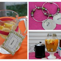 Beautiful outdoor 30th birthday party - drink table with handmade wine charms