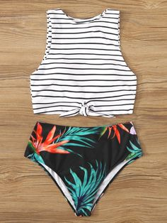 Striped Knot Front Top With Tropical Bottom Tankini Bikini Bathing Suits For Teens, Summer Bathing Suits, Swimsuits For Teens, Cute Bathing Suits, Cute Swimsuits, Women Swimsuits, Vintage Swimsuits, Teen Fashion Outfits, Teenage Outfits