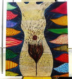 Painting Original #GraçaLeão ACRYLIC and INK ON CANVAS mix media collage #IllustrationArt