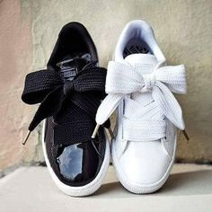 Women's Puma Basket Heart Shoes Satin Silk Bow
