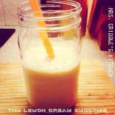 Lemon Cream Smoothie- one of our favorite smoothies! I adapted it from this site:  http://hearthandhospitality.blogspot.com/2013/07/lemon-cream-smoothie-super-healthy.html?m=1  Here is my breakdown:  1/2 cup 0% Greek Yogurt  1/2 almond milk  1 1/2 cup of ice  1 scoop of Whey Protein  1 tsp vanilla  3 drops of lemon essential oil  3 drops of lime essential oil  1 tsp (or more or less to your taste) THM Sweet Blend  A pinch of Salt  Blend well! Creamy yumminess! And an FP, if I'm correct…