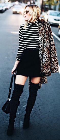 #winter #fashion /  Leopard Coat + Striped Top + Black Skirt
