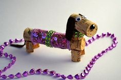 Dachshund Dog Wine Cork Puppy Ornament by DiVineWineCorks on Etsy, $9.00