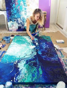 Artist Emma Lindström from Sweden creates gorgeous marbled paintings...