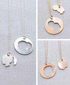 Silhouette Necklace Set in silver, gold or rose gold by Olive Yew. This custom silhouette necklace set is a keepsake you can share! Choose to keep one for yourself, or share with your mother, mother-in-law or grandmother.