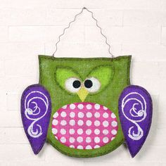 """Burlap Owl Wall Hanging 16"""" x 18"""" Curly wire for hanging  Arriving soon!     www.trendytree.com"""