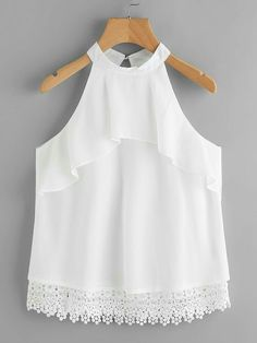 Shop Layered Frill Crochet Hem Keyhole Back Halter Top online. SheIn offers Layered Frill Crochet Hem Keyhole Back Halter Top & more to fit your fashionable needs. Blouse Styles, Blouse Designs, Little Girl Outfits, Kids Outfits, Stylish Dresses, Fashion Dresses, Baby Dress Design, Crop Top Outfits, Baby Girl Dresses