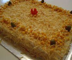 Receita de bolo salgado de pão de forma e frango - Show de Receitas