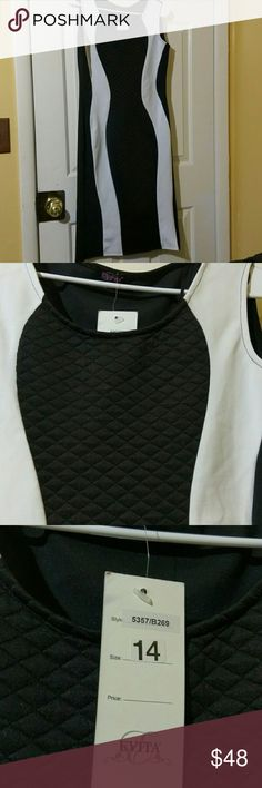 NWT black and white dress Form fitting . Quilted like design on middle black section in the front. All black on the back. NWT Dresses