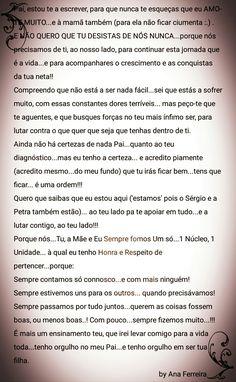 Carta ao meu único pai...(parte I)  by Ana Ferreira Words, Giving Up, Information Technology, Pai, Horse