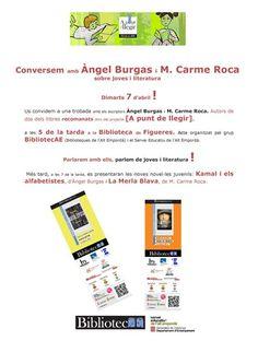Biblioteca Fages de Climent - Figueres. 7 d'abril de 2015.  Conversem amb Àngel Burgas i M. Carme Roca sobre joves i literatura. Projecte A punt de llegir Dimarts dia 7, tornant de les vacances de Setmana Santa, us convidem a una trobada amb els escriptors Àngel Burgas i M. Carme Roca a les 5 de la tarda a la Biblioteca de Figueres, en un acte organitzat per BibliotecAE (Biblioteques de l'Alt Empordà) i el Servei Educatiu de l'Alt Empordà.