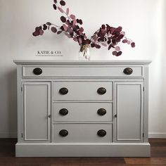 Katie & Co. Furniture Restorations completed this timeless piece using General Finishes Seagull Gray Milk Paint.