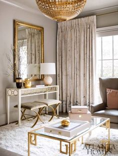 Drapes in Schumacher Mary McDonald Chinois Palais in Blush Conch (Atlanta Homes)