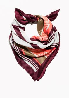 & Other Stories image 1 of Striped Scarf in Burgundy Stripe Metal Bracelets, Love Bracelets, Cartier Love Bracelet, Holiday Canvas, Striped Scarves, Summer Scarves, Packing Tips For Travel, Lace Up Sandals, Fashion Story